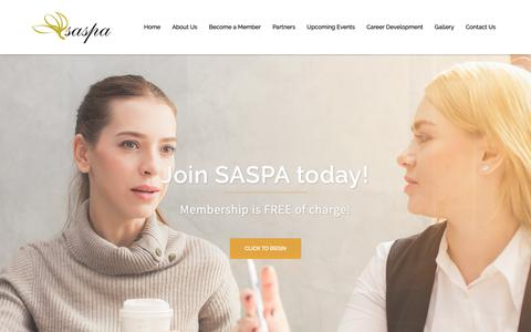 Screenshot of Home Page saspa.co.za - Welcome to SASPA - South African Secretaries and PA's Association - captured Oct. 1, 2018