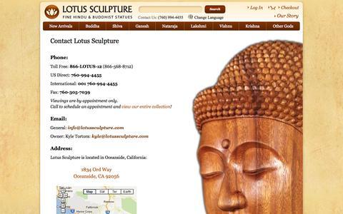 Screenshot of Contact Page lotussculpture.com - Contact Lotus Sculpture, Buddha Statues, Hindu Gods Statues - captured Sept. 24, 2014
