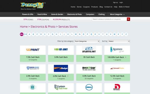 Screenshot of Services Page pennyful.com - Electronics & Photo Cash Back and Coupons  - Simple Smart Shopping - Pennyful.com - captured Sept. 22, 2014