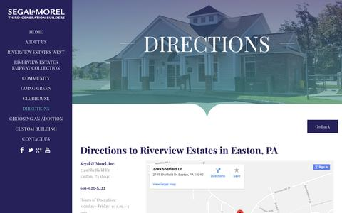 Screenshot of Maps & Directions Page segalmorelhomes.com - Directions To Luxury Homes - Easton, Lehigh Valley, Bethlehem, PA - captured Oct. 2, 2018