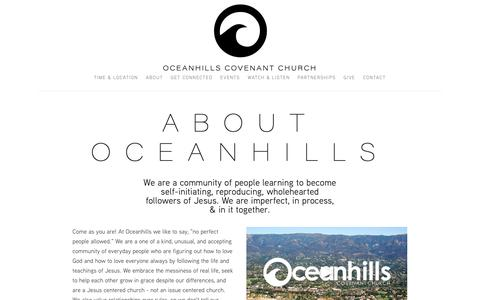 Screenshot of About Page oceanhills.org - About Us — Oceanhills Covenant Church - captured Oct. 19, 2018