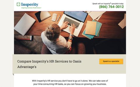 Screenshot of Landing Page insperity.com - Compare Insperity's HR Services to Oasis Advantage's - captured July 19, 2018
