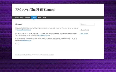 Screenshot of Contact Page pihisamurai.org - Contact | FRC 1076: The Pi Hi Samurai - captured Sept. 29, 2014