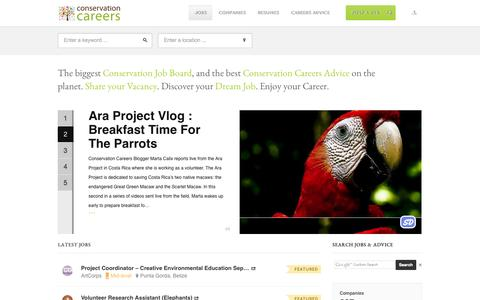 Screenshot of Jobs Page conservation-careers.com - Conservation Job - captured Sept. 30, 2014