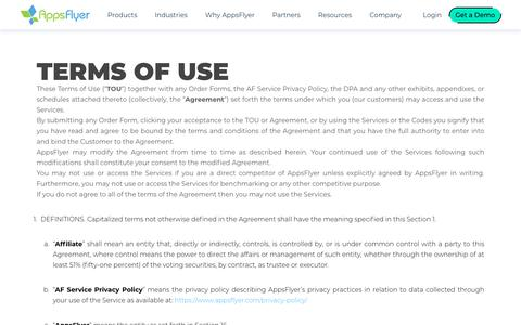 Screenshot of Terms Page appsflyer.com - Terms of Use | AppsFlyer - captured Jan. 17, 2020