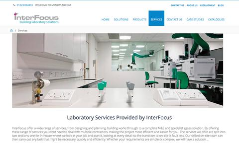 Screenshot of Services Page mynewlab.com - Laboratory Services | Interfocus - captured Oct. 15, 2017