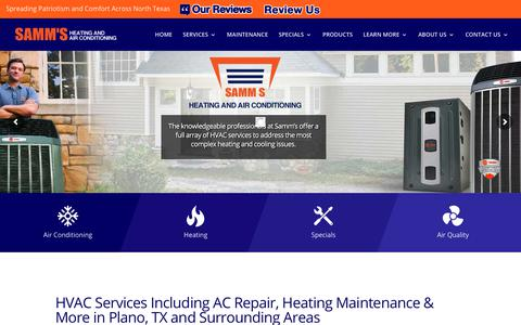 Screenshot of Home Page sammsheatingandair.com - AC Repair & Installation | HVAC Service & Maintenance | Plano, TX - captured Oct. 5, 2017