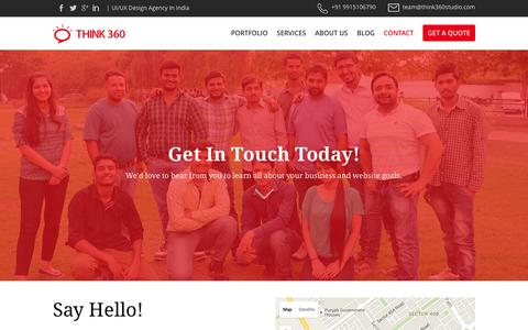 Screenshot of Contact Page think360studio.com - Think360 - UI/UX Design Agency | Web Design Agency India - captured Feb. 16, 2016