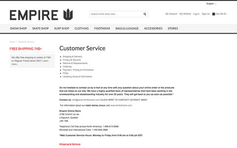 Screenshot of Privacy Page FAQ Page Support Page thinkempire.com - Customer Service - Empire Online Store - Skateboards, Snowboards, Street Fashion - captured Jan. 15, 2016