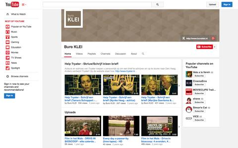 Screenshot of YouTube Page youtube.com - Buro KLEI  - YouTube - captured Oct. 23, 2014