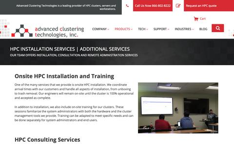 Screenshot of Services Page advancedclustering.com - Additional Services - Advanced Clustering Technologies - captured April 10, 2019