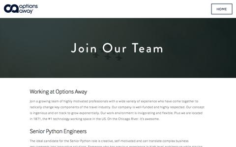 Screenshot of Jobs Page optionsaway.com - Careers — Options Away - captured Aug. 31, 2016
