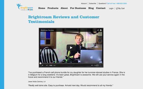 Screenshot of Testimonials Page brightroam.com - Brightroam Reviews - captured Sept. 30, 2014