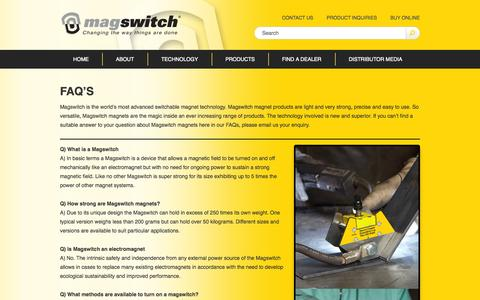 Screenshot of FAQ Page magswitch.com.au - FAQ's - Magswitch - captured Oct. 4, 2014