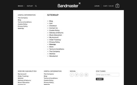 Screenshot of Site Map Page bandmaster.co.uk - Bandmaster | Music shop for trumpet mutes - captured Oct. 5, 2014