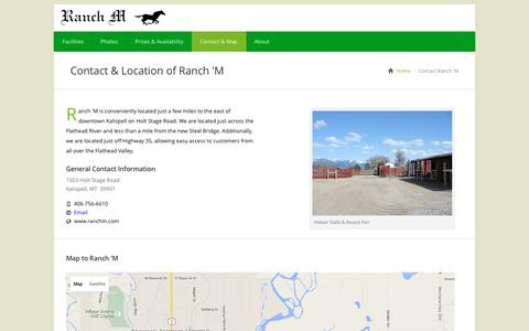 Screenshot of Contact Page Maps & Directions Page ranchm.com - Contact & Location Information for Ranch 'M in Kalispell, Montana - captured June 21, 2016