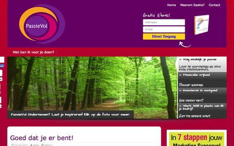 Screenshot of Home Page passievol.nl - PassieVol Ondernemen - Onderneem met Passie - captured Oct. 2, 2014