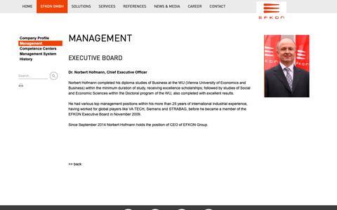 Screenshot of Team Page efkon.com - EFKON GmbH - MANAGEMENT - captured Sept. 25, 2018