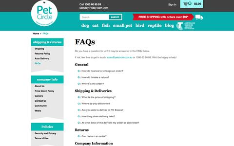 Screenshot of FAQ Page petcircle.com.au - FAQs | Pet Circle - captured April 15, 2016