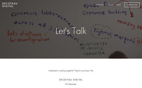 Screenshot of Contact Page deco-dig.com - Contact Me — Decoteau Digital - captured Aug. 1, 2016
