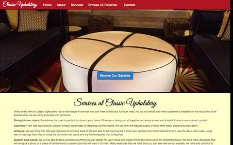 Screenshot of Services Page classic-upholstery.com - Services at Classic Upholstery - captured July 21, 2015