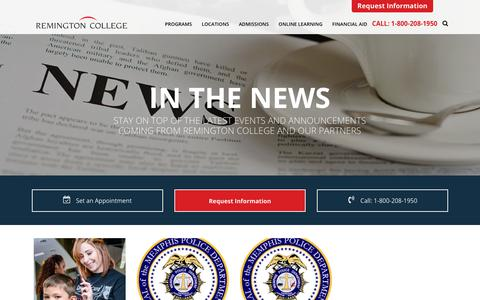 Screenshot of Press Page remingtoncollege.edu - News and Announcements Related to Remington College Programs - captured Sept. 27, 2018