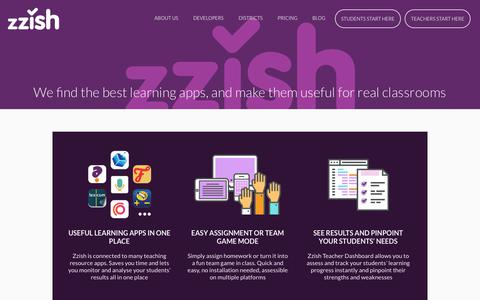 Screenshot of Pricing Page zzish.com - Zzish, We find the best learning apps, and make them useful for real classrooms - captured July 5, 2018