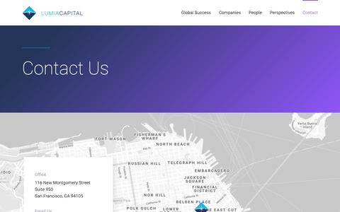 Screenshot of Contact Page lumiacapital.com - Contact : Lumia Capital - captured Nov. 5, 2018