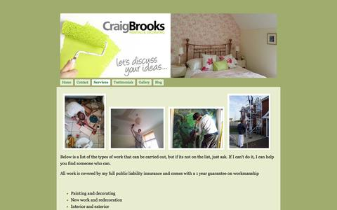 Screenshot of Services Page craigbrooksdecorating.co.uk - Services - Craig Brooks Painting & Decorating - captured Oct. 3, 2014