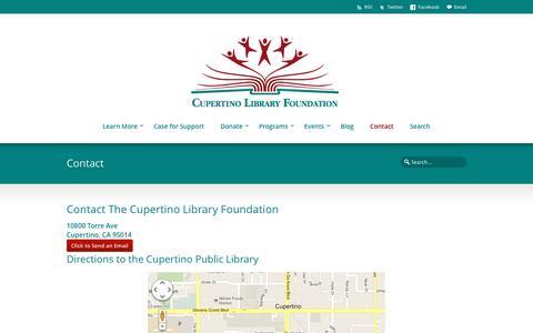 Screenshot of Contact Page cupertinolibraryfoundation.org - Contact the Cupertino Library Foundation - captured May 24, 2017