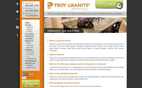 Screenshot of FAQ Page troygranite.com - FAQ – Troy Granite Countertops | Newark DE, Pittsburgh PA, Harrisburg, PA - captured Oct. 9, 2014