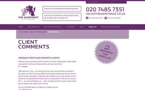 Screenshot of Testimonials Page thehairforce.co.uk - Get rid of headlice - testimonials | Summon The Hairforce on 020 7485 7351 | The Hairforce – Lice Assassins - captured Oct. 20, 2018
