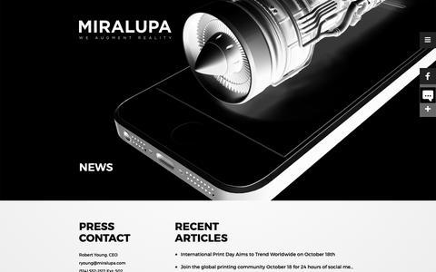 Screenshot of Press Page miralupa.com - NEWS – Miralupa - captured Oct. 18, 2018