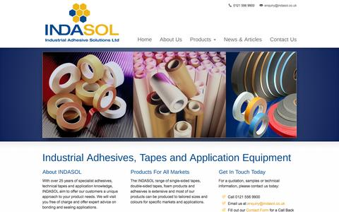 Screenshot of Home Page indasol.co.uk - Technical Tapes and Adhesives From Indasol - captured Feb. 10, 2016