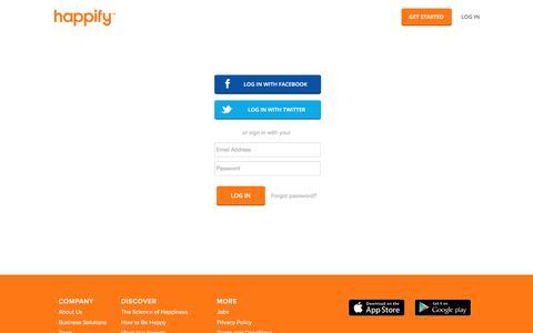 Screenshot of Login Page happify.com - Log In - captured June 10, 2017