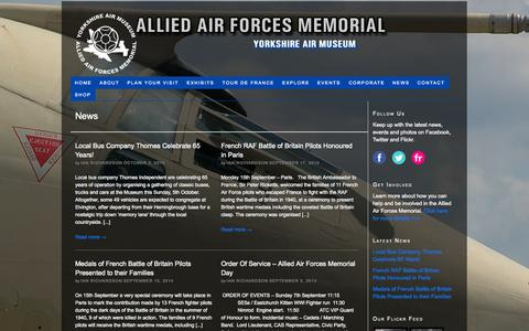 Screenshot of Press Page yorkshireairmuseum.org - News - captured Oct. 4, 2014