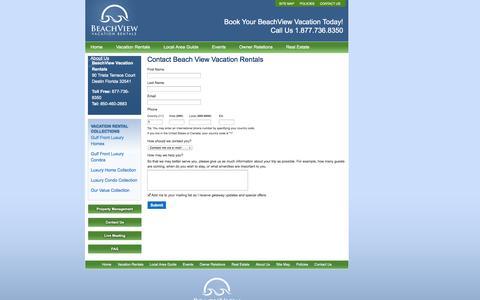 Screenshot of Contact Page Signup Page beachviewvacationrentals.com - Contact Beach View Vacation Rentals - captured Oct. 23, 2014