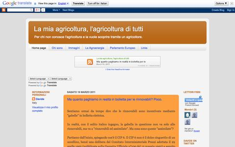 Screenshot of Home Page lamiaagricoltura.blogspot.com - La mia agricoltura, l'agricoltura di tutti - captured Oct. 4, 2014