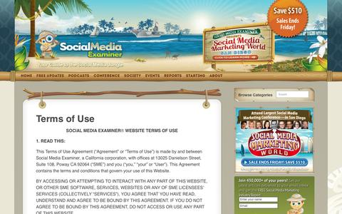 Screenshot of Terms Page socialmediaexaminer.com - Terms of Use - captured Dec. 16, 2015