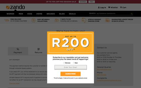 Screenshot of Contact Page zando.co.za - Help Center Online | Shopping | South Africa | Zando - captured Sept. 21, 2018