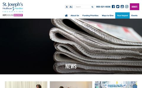 Screenshot of Press Page stjoesfoundation.ca - News | St. Joseph's Healthcare Foundation - captured Oct. 18, 2018