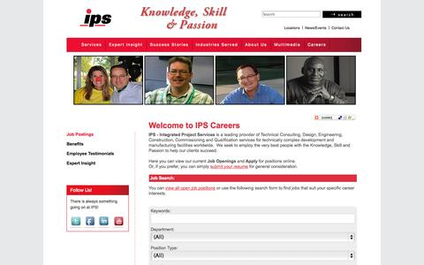 Screenshot of Jobs Page ipsdb.com - Job Postings - Integrated Project Services - IPS - captured Oct. 3, 2014