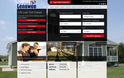 Screenshot of Home Page lovelivinginlenawee.com - Living In Lenawee Realty - captured Nov. 11, 2016