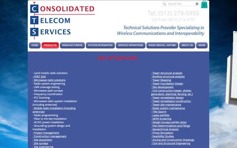 Screenshot of Products Page cts411.com - CTS Consolidated Telecom Services  | PRODUCTS - captured Nov. 11, 2016