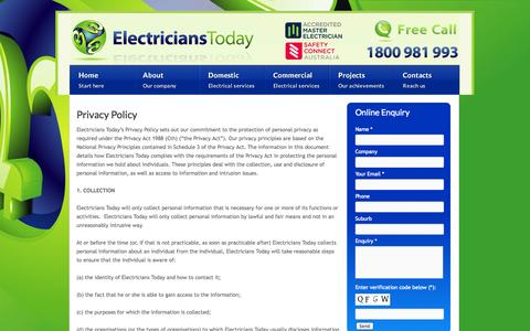 Screenshot of Privacy Page electricianstoday.com.au - Privacy Policy | Electricians Today - captured Sept. 29, 2014