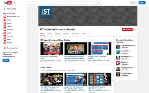 Screenshot of YouTube Page youtube.com - ISTNetworksChannel's channel  - YouTube - captured Oct. 23, 2014