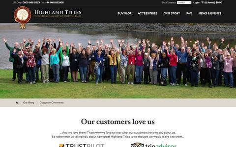 Screenshot of Testimonials Page highlandtitles.com - Customer Comments - Highland Titles - captured Nov. 8, 2016