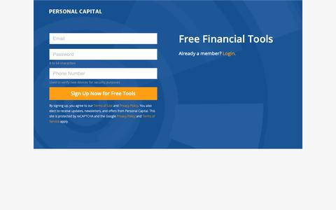 Screenshot of Signup Page personalcapital.com - Sign Up for an Account | Personal Capital - captured March 16, 2019