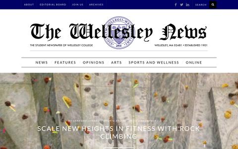 Screenshot of Home Page thewellesleynews.com - The Wellesley News - captured Jan. 12, 2016