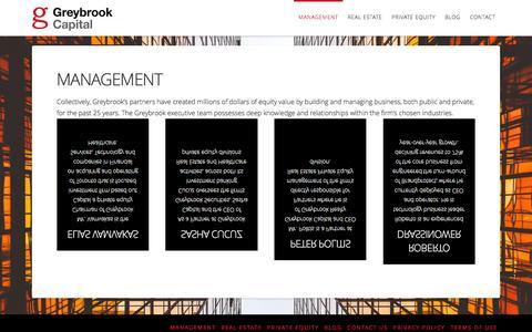 Screenshot of Team Page greybrook.com - Management | Greybrook Capital - captured Feb. 2, 2016